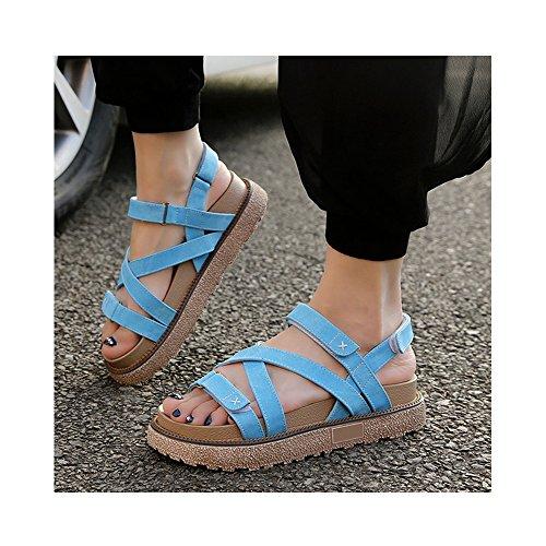 Femme Epais Confortable Bleu OCHENTA Eté Sandales Velcro Plateforme Lanière vqHcdt