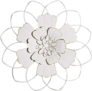 H HOMEBROAD. 15.5 Inch Large Metal Flower Wall Art Outdoor Wall Decor Hanging for Home Bedroom Living Room Office Garden, White