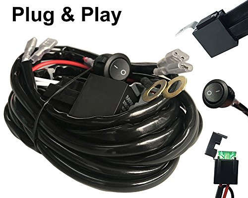 AutoSonic LED Wiring Harness 2 Lead Heavy Duty for LED Light Bar Work Light, 12V 40A Relay, Fuse and On-off switch button included, Life Time Warranty Auto Wiring Harnesses