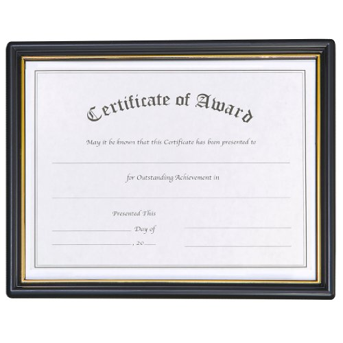 Nu-Dell 8.5 x 11 Inches  EZ Mount Pre-Framed Award Certificate Frame, Black/Gold