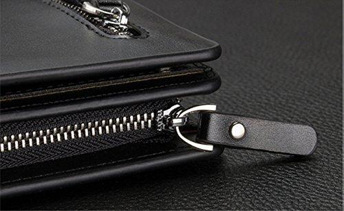 Ruiying Herren Männer mappe aus echtem Leder Kupplung Kartenhalter Mappen Geldbörse Brieftasche Multi-Funktions Große Kapazität Tasche (Schwarz)
