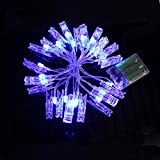 Ouniman 20 Pcs LED String Lights with Picture Clips, Phoro Light String for Curtain Christmas Wedding Couple Valentine's Day - Blue