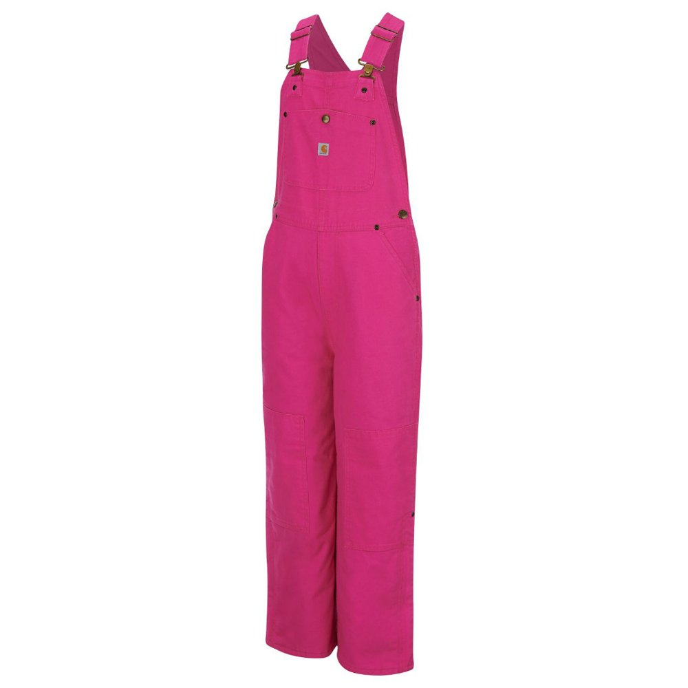 Carhartt Big Girls' Pink Duck Bib Overall Lined, Raspberry Rose, 10