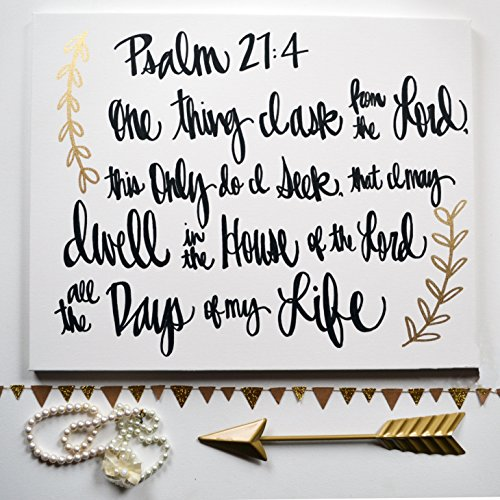 Black and Gold All The Days Of My Life Bible Verse Hand Lettered Canvas Wall Art