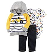 Carter's Baby Boys 3 Piece Cardigan Bodysuit and Pants Set, Construction, 9 Months