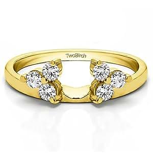 Wedding Ring Enhancers | Amazon Com Diamond 3 Stone Ring Wrap Enhancer In 10k Yellow Gold
