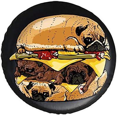 パグ ハンバーガー キャリーオンバッグ Dog タイヤカバー タイヤ保管カバー 収納 防水 雨よけカバー 普通車・ミニバン用 防塵 保管 保存 日焼け止め 径83cm