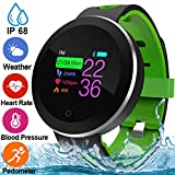 Fitness Tracker for Men Women with Blood Pressure Monitor Heart Rate Oxygen Sleep Monitor Calorie Pedometer Waterproof IP68 Smartwatch Activity Tracker Color Screen Sport Bracelet for Fathers Day Gift