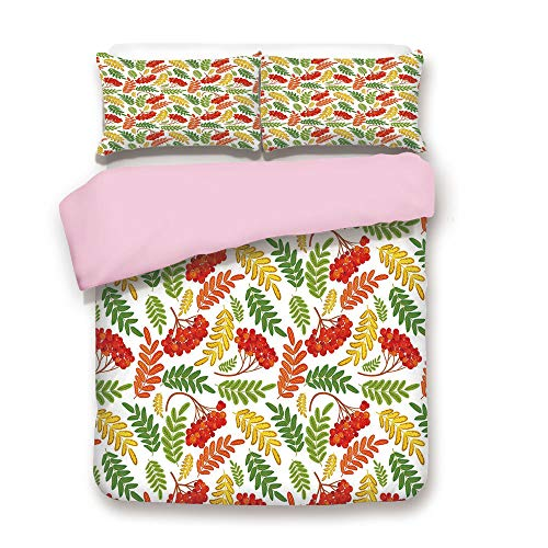 Pink Duvet Cover Set,Queen Size,Autumnal Flora Wild Rural Nature Pattern Botanical Theme with Vibrant Colorful Leaves,Decorative 3 Piece Bedding Set with 2 Pillow Sham,Best Gift For Girls Women,Multic