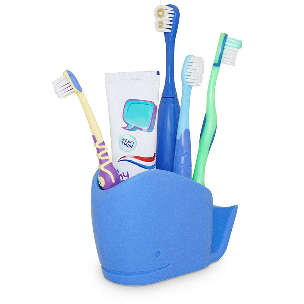 Wrewing Whale Silicone Toothbrush Holder for Kids, Kids Bathroom Toothbrush, Toothpaste Storage Assistant. (Blue) by Wrewing