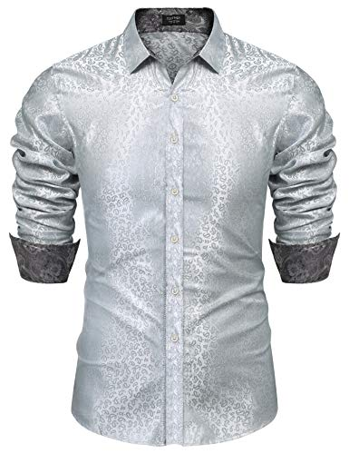 COOFANDY Men's Luxury Paisley Dress Shirt Satin Silk Long Sleeve Button Shirt Grey