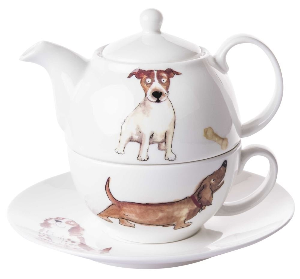 Roy Kirkham Dogs Tea for One Teapot, Cup and Saucer Set