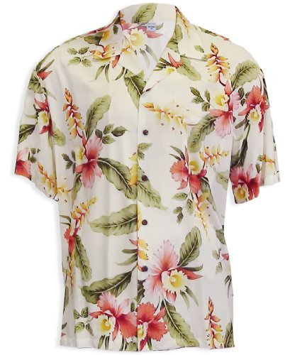 Island Floral Bouquet Rayon Hawaiian Shirt, CREAM, XL