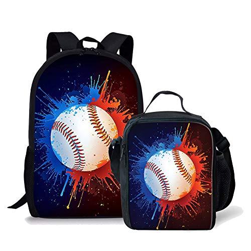Kids Baseball Printed Backpack Book Bag Schoolbag + Lunch Bag for Boys Girls Primary School