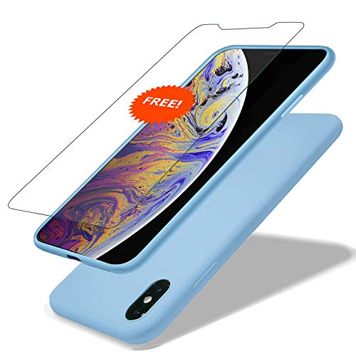GARLEX-iPhone Xs Max Silicone Case, Ultra Thin Liquid Gel Rubber Phone Cover Case with Hybrid Protection Compatible with iPhone Xs Max 6.5 Inch (2018), Blue