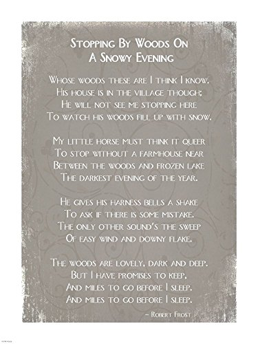 Stopping by Woods On A Snowy Evening Poem by Robert Frost Art Print, 14 x 18 inches