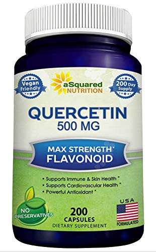 Pure Quercetin 500mg Supplement – 200 Capsules – Quercetin Dihydrate to Support Cardiovascular Health – Max Strength Powder Complex Pills to Help Improve Anti-Inflammatory Immune Response