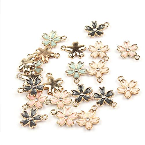CheeseandU 40Pcs Gold Plated Enamel Cherry Blossoms Flower Charms Pendants for DIY Jewelry Making Necklace Bracelet Earring DIY Jewelry Accessories Charms Girls Kids DIY Gift,Assorted ()
