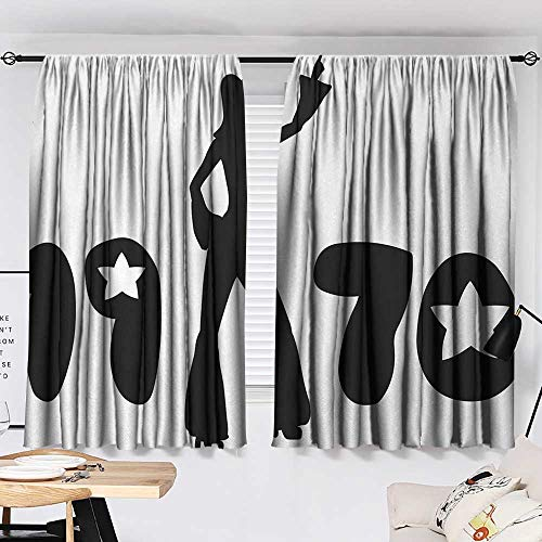 Jinguizi 70s Party Two Panels Retro Seventies Woman Silhouette with Stars Dancing Fashion Youth Design Decor Darkening Curtains Black and White W55 x L39 by Jinguizi (Image #1)