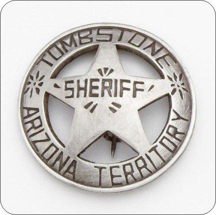 Set Of 4 Coasters With Cork Backing Wyatt Earp Doc Holliday Tombstone Sheriff Arizona Territory Badge