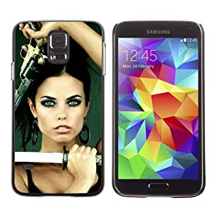 Licase Hard Protective Case Skin Cover for Samsung Galaxy S5 - Beautiful Woman With Weapons