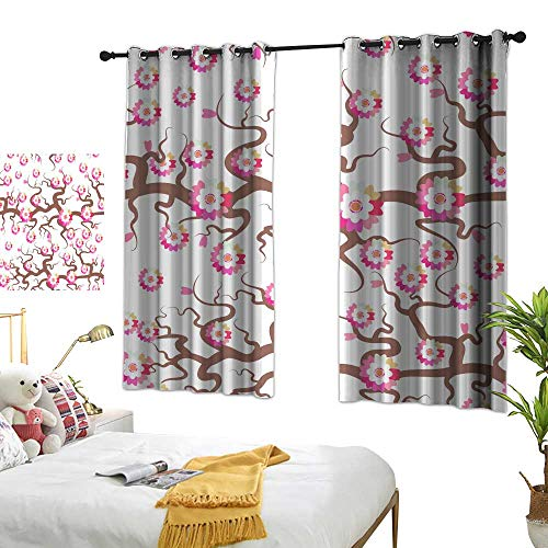90% Blackout Curtains for Bedroom Sakura seamless pattern Nature background with blossom branch of pink flowers Cherry tree brown branches japanese pattern pastel colors on white background Vector Cus (All Quiet On The Western Front Nature)