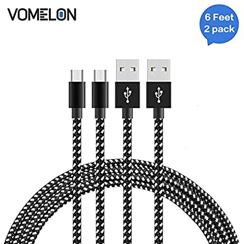 Micro USB Cable, [6FT-2Pack] Nylon Braided High Speed Sync & Charging Cable A Male to Micro B for Samsung, HTC, LG, HP, Sony, Most Android Phones and More-[Black + (Samsung Android Docking Station)