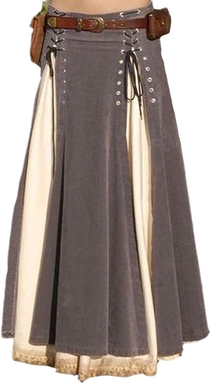 Hibasing Falda de Vendaje Medieval para Mujer Disfraz de ...