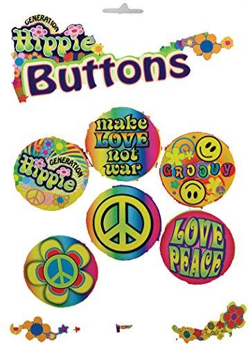 Hippie Button Set (F62165 Hippie 5 Pc. Buttons Woodstock)