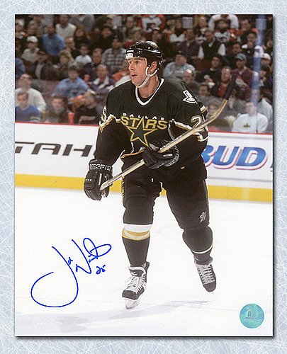 (Joe Nieuwendyk Dallas Stars Autographed Game Action 8x10 Photo - Signed Hockey Pictures)