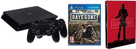 PlayStation 4 (PS4) - Consola de 1 TB + 2 Dual Shock 4 Wireless Controller - nuevo chasis + Days Gone + Steelbook (Edición Exclusiva Amazon): Amazon.es: Videojuegos