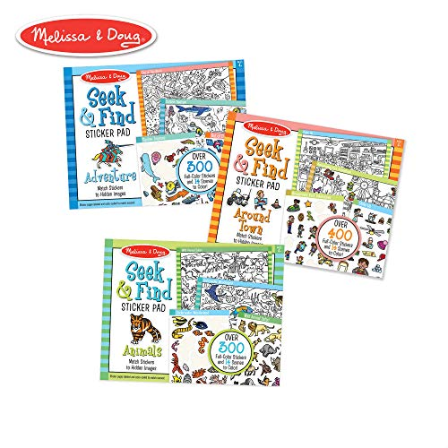 Melissa & Doug Seek & Find Sticker Pad 3-Pack, Around Town, Adventure, Animals (Each Includes 400+ Stickers, 14 Scenes to Color), Multicolor