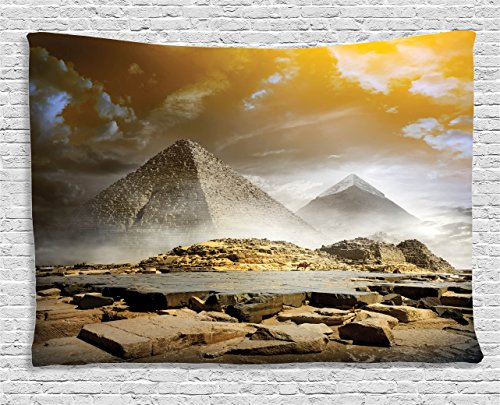 Ambesonne Egyptian Tapestry, Storm Clouds Over Pyramids Magical Photo of Ancient Culture Icons Eastern Art, Wall Hanging for Bedroom Living Room Dorm, 60 W X 40 L Inches, Orange Cream