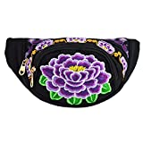 Sherry Waist Bag Woman Embroidery Chest Pack Travel Cosmetic Bag Zipper Purse (Black)