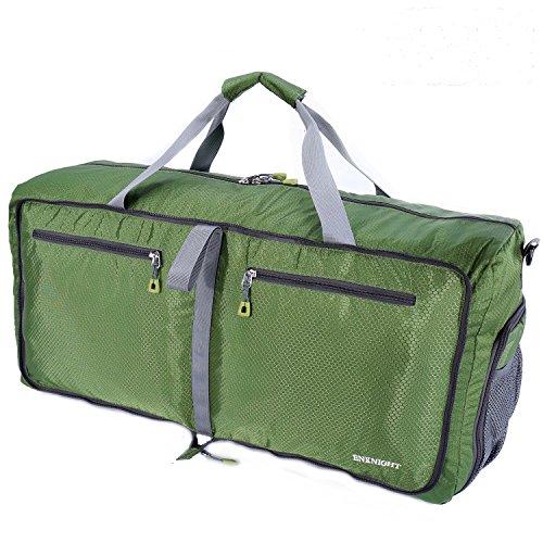 ENKNIGHT 55L Travel Waterproof Foldable Duffel Bag Luggage Bag Sports Gym Bag Green
