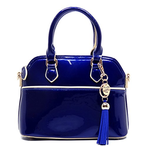 Elphis Patent Vegan Leather Glossy Cute Mini Dome Satchel Handbag (Royal Blue) (Blue Patent Leather Bag)