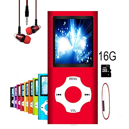 MP3 Player / MP4 Player, Hotechs MP3 Music Player with 16GB Memory SD card Slim Classic Digital LCD 1.82 Screen MINI USB Port with FM Radio, Voice record