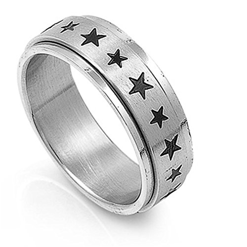 (Men's Spinner Star Ring Unique Polished Stainless Steel Band New USA Size 12)