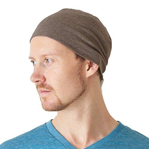 CHARM 100% Organic Cotton Beanie - Soft Chemo Hat Tight Fit Sensitive Skin Cap Medical Wear Snug Form Fitting Unisex Brown