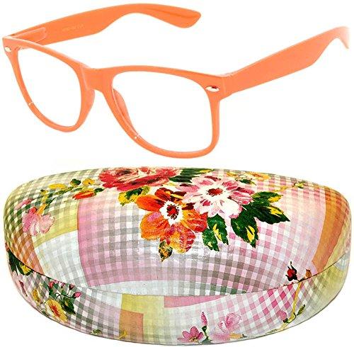 Vintage Wayfarer Nerd Sunglasses with Hard Clamshell Case Many Colors (nerd-orange_&_case-fl-plaid-red)