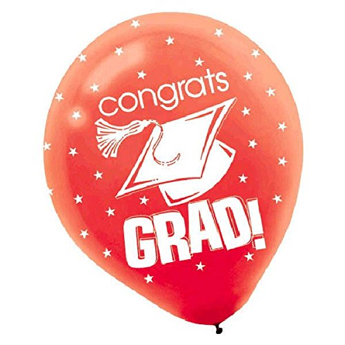 Congrats Grad Graduation Party Balloon Decoration 12 Pack of 15 12 Pack of 15 TradeMart Inc 201170.4 Red Latex