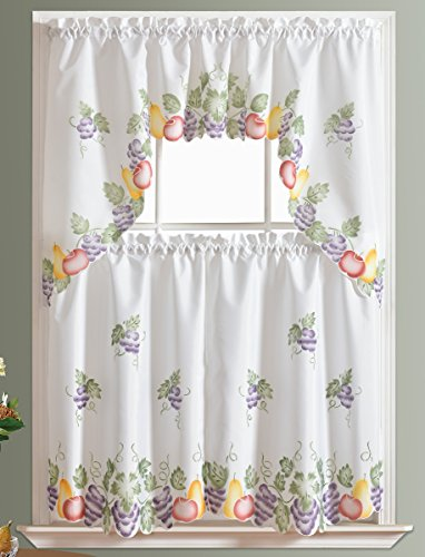 3pcs Kitchen Curtain / Cafe Curtain Set, Air Brushed By Hand Of Fruits  Combo Design