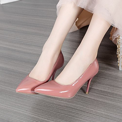 Mee Shoes Women's Chic Stiletto High Heel Pointed Toe Slip On Court Shoes Pink wypD2I