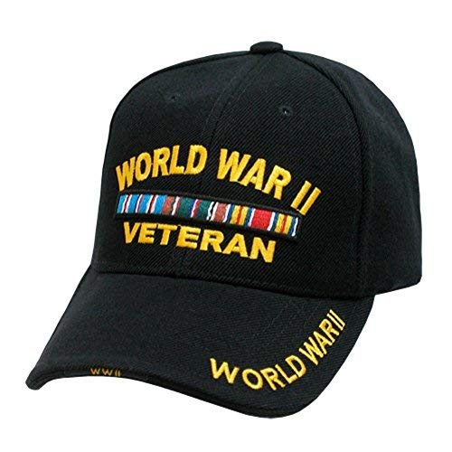 - New Embroidered Black World War 2 II Veteran Military Baseball Ball Hat Cap