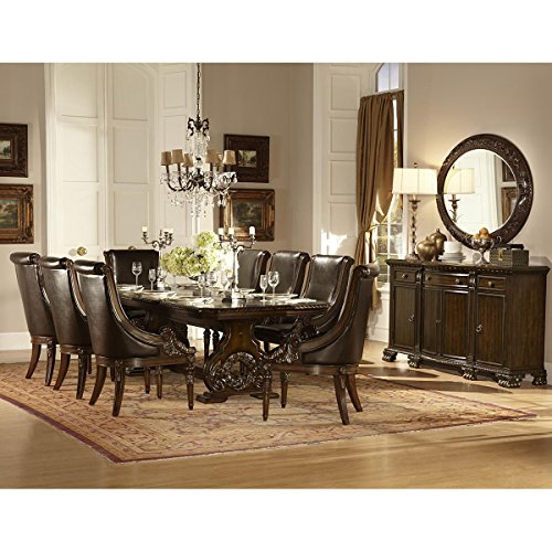 Chatelet 7 Piece 94-118 inch Dining Set in Dark Cherry - Table, 6 Leather Arm Chairs