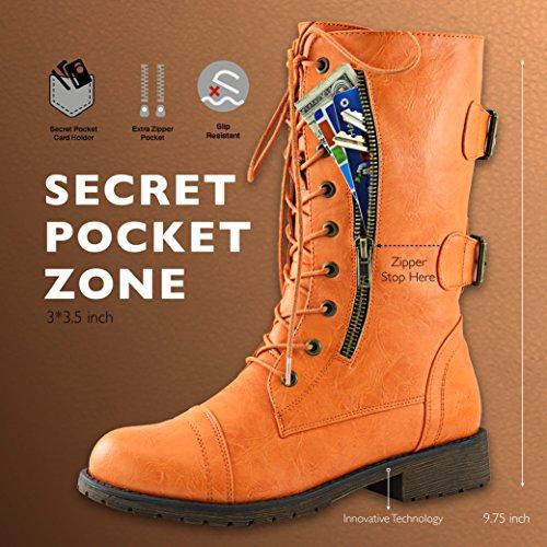 DailyShoes Damen Militär Ankle Lace Up Schnalle Kampfstiefel Mitte Kniehohe Exklusive Kreditkarten-Booties Freche Orange