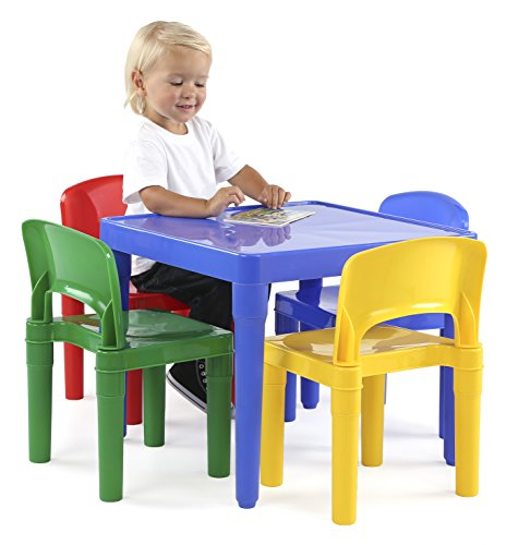 Tot Tutors Kids Plastic Table And 4 Chairs Set Primary