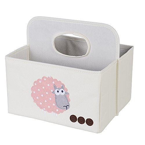baby diaper organizer, ang waterproof foldable baby storage basket,nursery organizer caddy with handle for changing table diaper,baby shower gift baskets for girls boys(sheep)