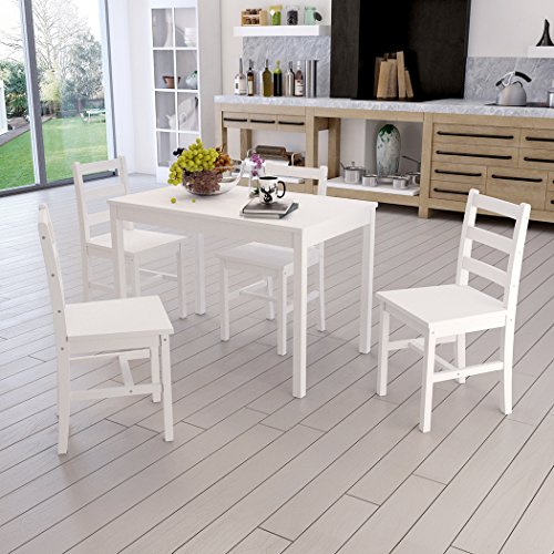 f8af4a9ec71 WEIBO Modern Stylish Solid Wood Pine Dining Table and 4 Chairs Solid Wood  Dinette Set in White - Buy Online in Oman.