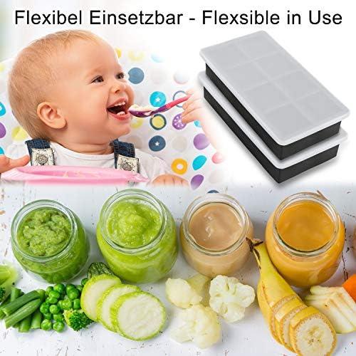 Lifestyle 2.0 Eiswürfelform Mit Deckel Aus Silikon Eiswürfelbehälter 2er Pack BPA-Frei Für 16 Große 5cm XXL Eiswürfel